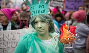 People gather along Independence Ave for the Women's March on Washington in Washington, DC.