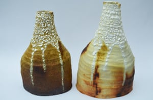 Sophie McKinney: 'A collection of ceramics: saggar-fired with various combustibles to create colour, made during my degree in decorative arts at Nottingham Trent University.'