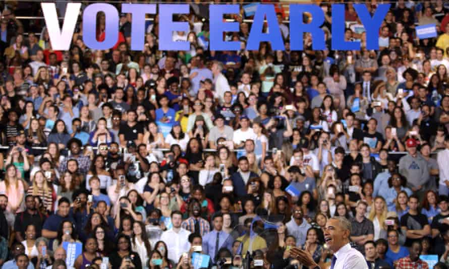 Barack Obama speaks during a rally to campaign for Hillary Clinton in Miami, Florida Thursday.