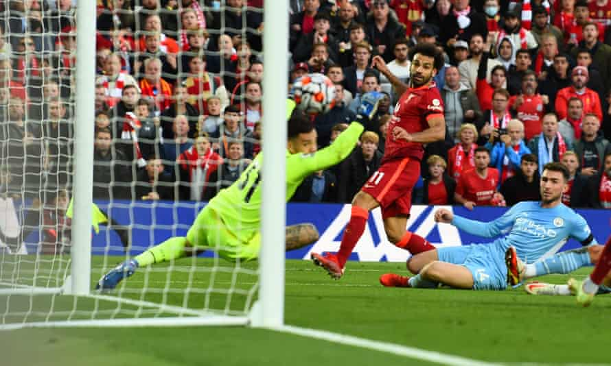 Mohamed Salah watches his shot beat Ederson to put Liverpool 2-1 ahead after a brilliant solo run from the Egyptian.