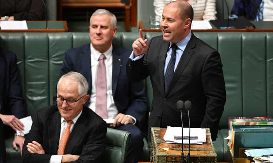 Prime Minister Malcolm Turnbull and Minister for Energy Josh Frydenberg during Question Time