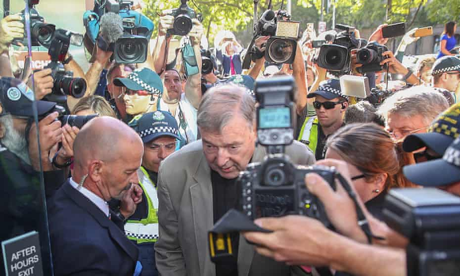 Cardinal George Pell attends court in Melbourne for sentencing on Wednesday on child sexual abuse charges.
