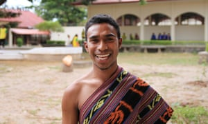 Joao Da Costa, 22, is learning English as part of his refrigeration course at the Sentru Formasaun Profisional training school in Dili.