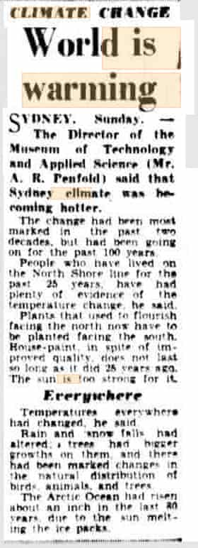 Excerpt from the Courier-Mail in 1950