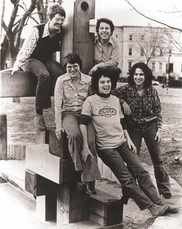 Light-bulb moment … the Olivia Records collective in 1973, with Judy Dlugacz far right.