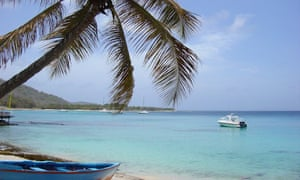 A beach on the Caribbean island of Mustique.