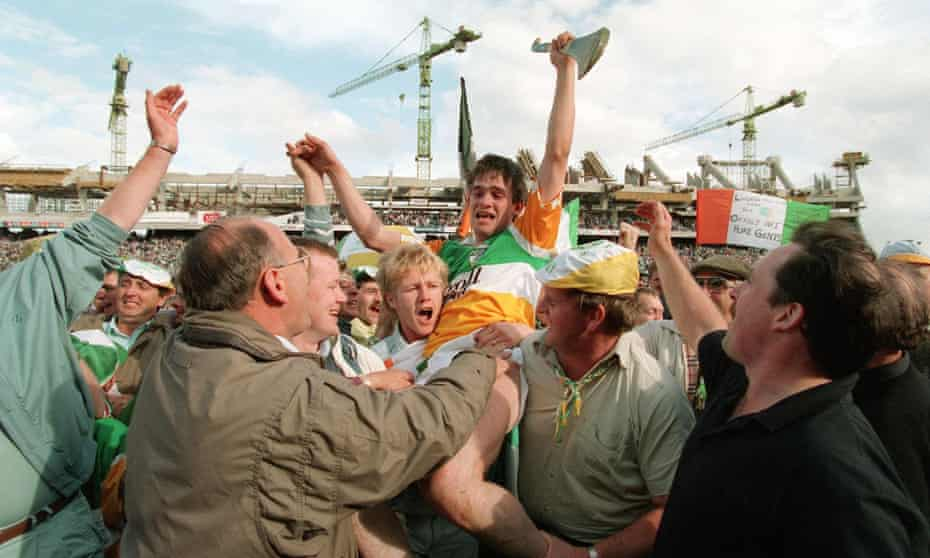 Johnny Pilkington celebrates a famous victory with the Offaly fans after the 1994 All-Ireland Hurling final.