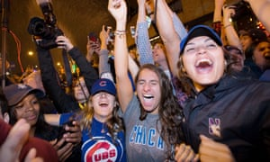 Chicago fans celebrate after their team seal their first World Series since 1908