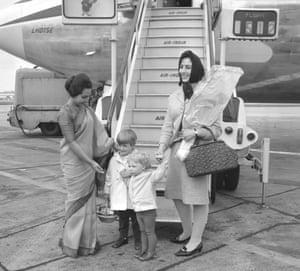 Catherine Freeman, right, in the mid-1960s at London Airport, with her sons Matthew and Tom, boarding a flight for New Delhi, India, where her second husband, John Freeman, was British high commissioner.