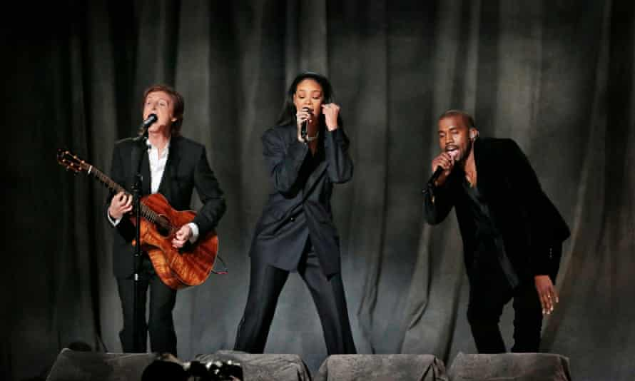 Kanye West's last appearance at the Grammys, performing with Paul McCartney and Rihanna in 2015.