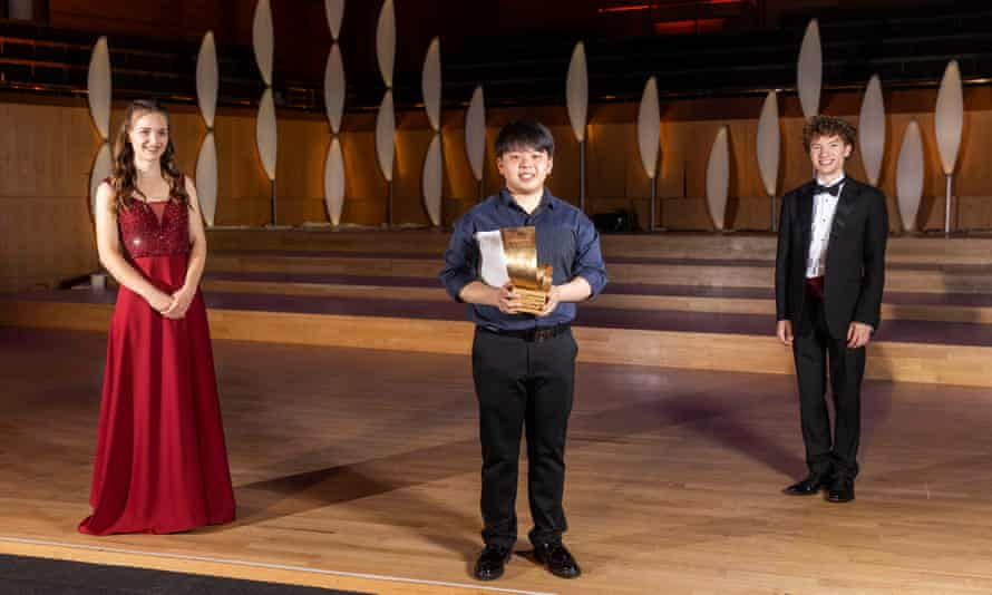 Finalists … Fang Zhang, centre, with Annemarie Federle and Ewan Millar.