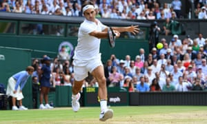 Roger Federer playing at Wimbledon in 2017