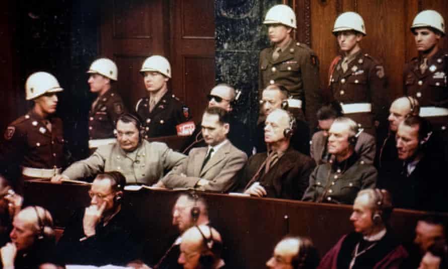 Photograph of Rudolf Hess taken during the Nuremberg Trials.