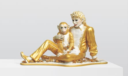 Jeff Koons' Michael Jackson and Bubbles, 1988, porcelain, 42 x 70 1/2 x 32 1/2 in.
