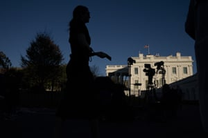 Journalists gather outside the White House after election day.