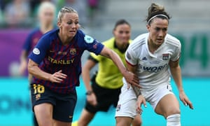 Barcelona's Toni Duggan (left) and Lucy Bronze of Lyon compete for the ball in the Women's Champions League final.