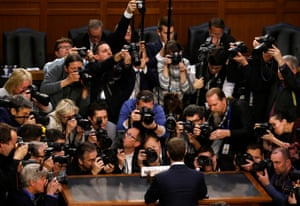 Facebook's Mark Zuckerberg arrives to testify before a US Senate hearing on Capitol Hill in Washington