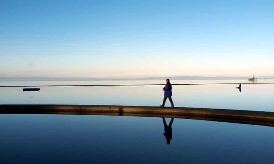 A walkway across the Marine Lake, Clevedon.