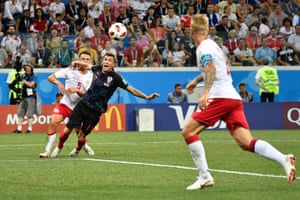Mandzukic goes down under pressure from Knudsen.