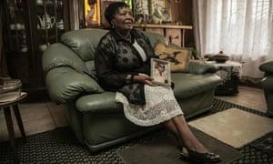 Ernestine Simelane, mother of anti-apartheid activist Nokuthula Simelane, with a portrait of her daughter.