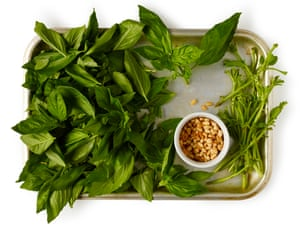 Pick the basil leaves from the stems for a bright, smooth pesto.