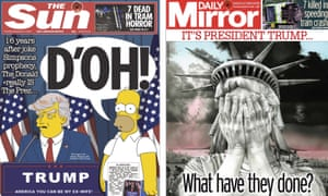 The Sun and the Daily Mirror front pages on 10 November 2016