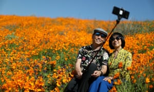 A couple takes a selfie photo in a super bloom of poppies in Lake Elsinore.