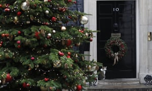 Larry the Downing Street cat sits on the doorstep of No 10.