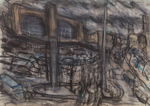 King's Cross Stormy Day, No 4, 2004, charcoal and pastel on paper.