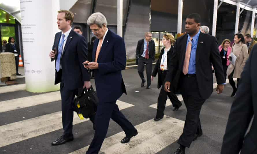 John Kerry leaves the COP 21 United Nations conference on climate change on the outskirts of Paris.