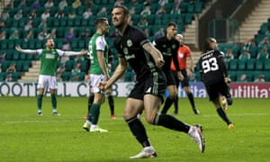Celtic's Shane Duffy celebrates his side's second goal at Hibernian, scored by his teammate Diego Laxalt