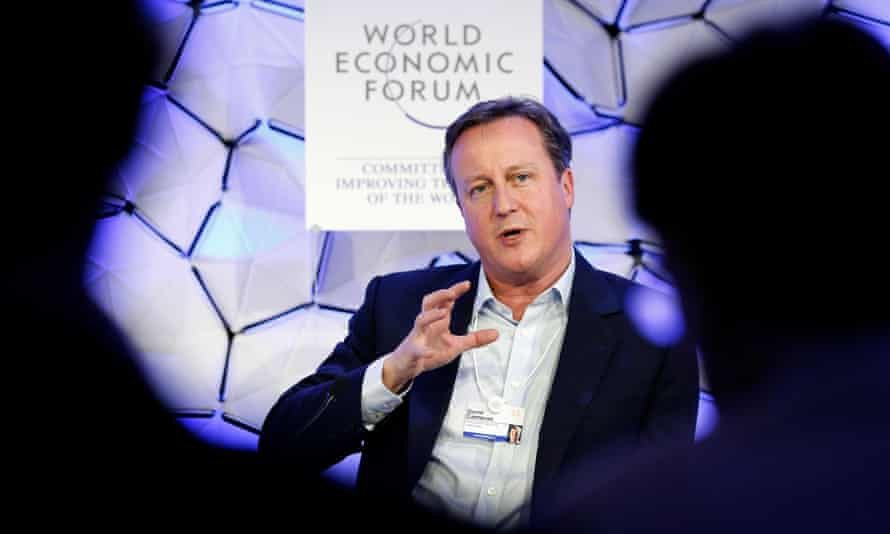 David Cameron speaks at the World Economic Forum in Davos, Switzerland in January 2018.