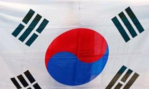 The flag of South Korea.
