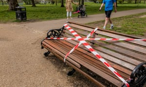 Lambeth council has closed the bandstand on Clapham Common and tapes up many of the benches to encourage exercise use and to discourage loitering.