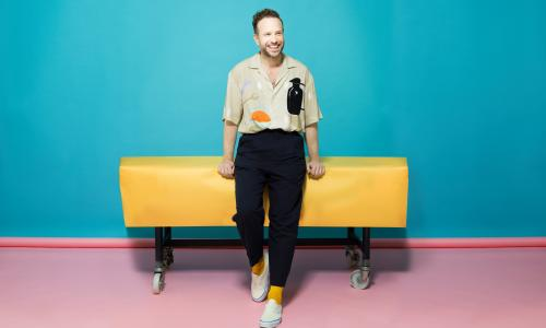 'I'm in the sweet spot': Rafe Spall wears shirt by Jacquemus at matchesfashion.com; trousers by Raey at matchesfashion.com; socks by newandlingwood.com and his own trainers.