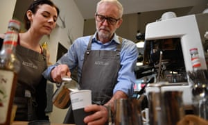 Jeremy Corbyn rehearses barista skills in Barry, where Labour scents a possible gain from the Conservatives.