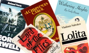 Book covers from Animal Farm, Lord of the Flies, A Christmas Carol, Wuthering Heights and Lolita