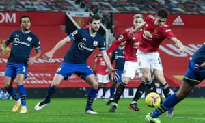 Daniel James of Manchester United gets to the ball to scoring his teams ninth goal.