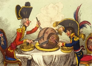 James Gillray's 1805 cartoon, The Plumb Pudding in Danger, depicts prime minister William Pitt and Napoleon Bonaparte carving up the world