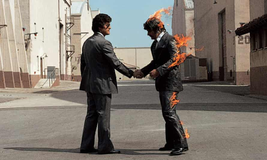 Album cover for Pink Floyd's Wish You Were Here.