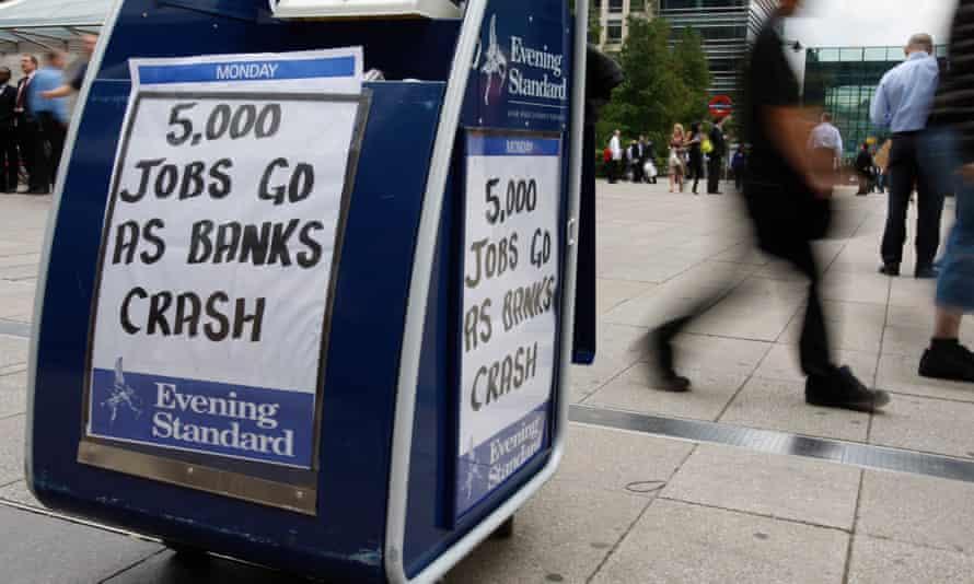 Evening Standard headline, 15 September 2008: 5,000 jobs go as banks crash