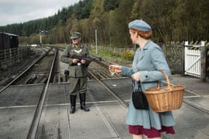 A second world war re-enactor dressed as a German soldier along the line at Levisham station, near Pickering.