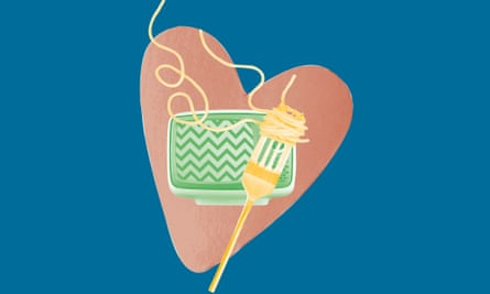 Composite of heart with fork twirling spaghetti