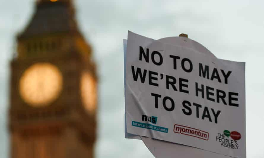 A sign at a demonstration in support of guaranteeing the rights of EU citizens in the UK post-Brexit.