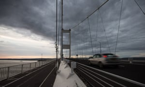 A car crosses the usually congested Severn Bridge from England into Wales.
