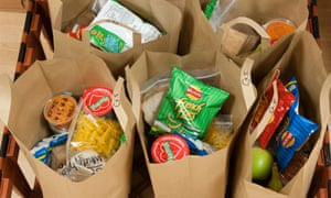 Lunch bags ready to be collected