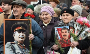 Russian Communist party supporters mark the anniversary of Joseph Stalin's birth in Red Square.