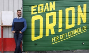 Egan Orion poses for a photo at his headquarters in Seattle on 28 October 2019.