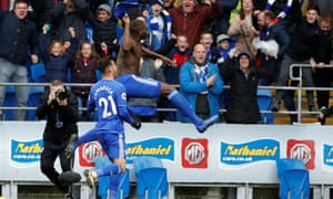 Cardiff City's Sol Bamba celebrates scoring their late winner