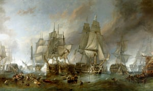 The Battle of Trafalgar' - painting by Clarkson Stanfield, 1805